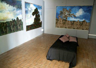 Pays Sages, 7 formats de toile camouflage non tendue sur châssis, peinture acrylique.