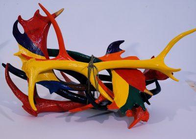 """""""Poignée de bois morts"""",  maximum 30 cm de long, 7 bois de chevreuil, acrylique"""