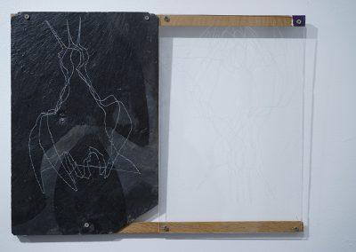 Ombre et lumière, (21) 30x40cm, 2014, dessin sur ardoise et Plexiglas