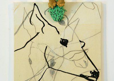 MASSACRE 2008 Dessins marouflés sur toile, acrylique sur bois de chevreuil, 50 x 40 cm