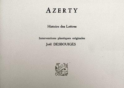 LA4 : Alain Robinet, Azerty, Linogravures de Joël Desbouiges, éditions La main courante, La Souterraine. 1995.