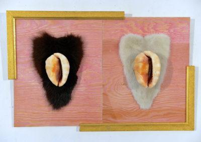' Insomnie '', coquillages et fourrure, 36x56 cm, mai 2018