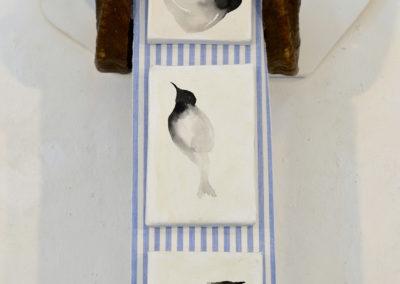 '' Silence abstrait '' , 160x50 cm, cornes de bélier, sept petits tableaux, juillet 2018