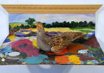 ''La souille du peintre '' , palette+ perdrix grise, 40x47cm, juillet 2018
