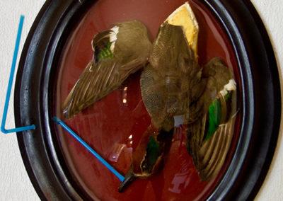 ''Liberté chérie'', cadre ovale + sarcelle, 45x35cm