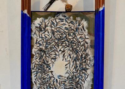 ''Rejoindre ma belle'' , cadre + geai, plumes de geai, 125x60cm