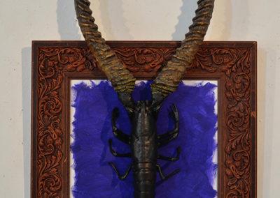 ''Homard bellevue'' ,cadre, homard + cornes d'antilope, 95x60cm